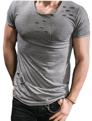 Men's Distressed Zip Detail Tee