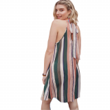 Tied Back Striped Dress