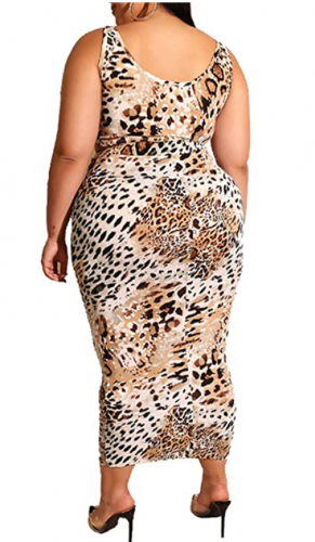 Leopard Print Crop Top Bodycon Skirt Set
