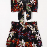 Tie Front Tropical Print Tube Top & Shorts Set