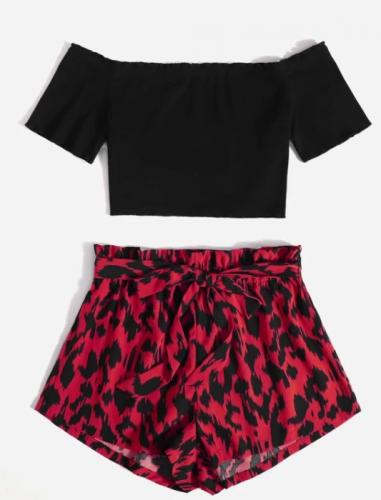 Lettuce Trim Bardot Top & Paperbag Waist Belted Shorts Set