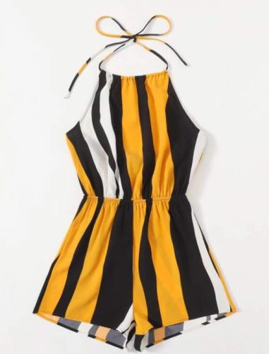 Tie Back Striped Halter Romper