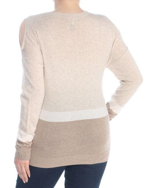 INC-Womens-Beige-Cold-Shoulder-Color-Block-Long-Sleeve-V-Neck-Sweater-Size_-XL (1)