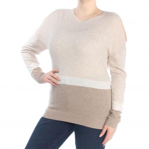 INC Womens Beige Color Block Sweater Top