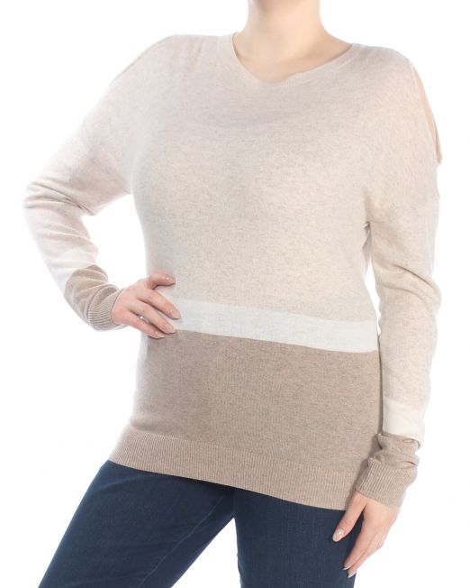 INC-Womens-Beige-Cold-Shoulder-Color-Block-Long-Sleeve-V-Neck-Sweater-Size_-XL