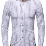 Striped Letter Print Long Sleeves Shirt